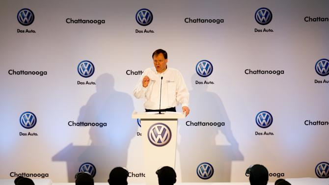 Frank Fischer, CEO and chairman of Volkswagen Chattanooga, speaks to workers at the plant on Thursday, March 22, 2012. The German automaker announced it plans to add 800 new jobs at the plant, bringing total employment at the facility to 3,500. (AP Photo/Erik Schelzig)