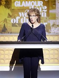 Television personality Joy Behar talks during the Glamour Magazine Women of the Year Awards event in New York November 12, 2012. REUTERS/Carlo Allegri