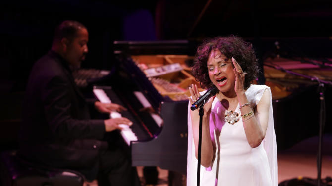 "Mary Stallings sings ""I Love Being Here With You,"" during the opening night concert of the SFJAZZ Center Wednesday, Jan. 23, 2013 in San Francisco. The 700-seat, specially designed concert hall nestled in the heart of the city's arts district attracted a crowd of hundreds with a high-energy, inaugural celebration emceed by Bill Cosby. Billed as the first freestanding building in the West built for jazz performance and education, the center opened Wednesday after raising more than $60 million over more than a decade to build a home for SFJAZZ, the nonprofit that puts on the city's jazz festival. (AP Photo/Eric Risberg)"