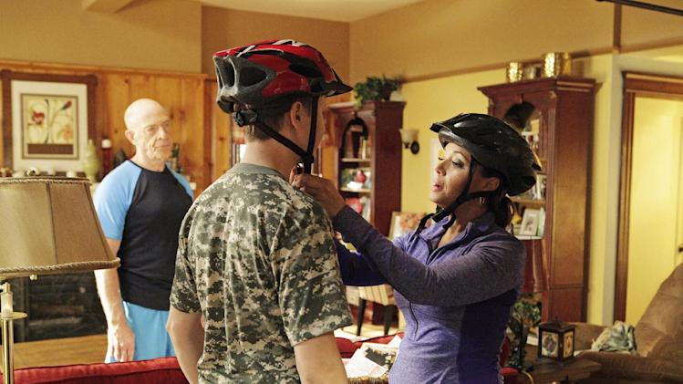 "This undated publicity photo released by ABC shows, from left, J.K. Simmons, Johnny Pemberton and Leah Remini in a scene from the episode ""Beachwood Approved"" from the ABC Television Network's series, ""Family Tools,"" airing Wednesday, May 15, 8:30 p.m., ET. Remini stars in the sitcom which debuts May 1, 2013. (AP Photo/ABC, Nicole Wilder)"