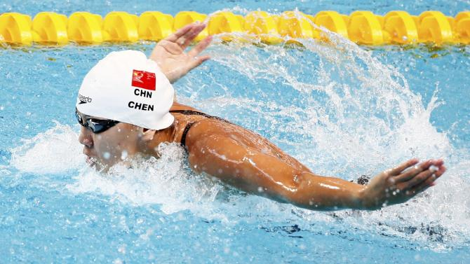 China's Chen competes in women's 100m butterfly heats at the Aquatics World Championships in Kazan