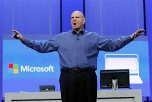 "Microsoft CEO Ballmer gestures during his keynote address at the Microsoft ""Build"" conference in San Francisco"