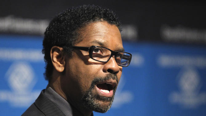 Actor Denzel Washington talks about a public service advertising (PSA) campaign for the Boys and Girls Clubs of America, Wednesday, Sept. 21, 2011, at the National Press Club in Washington. (AP Photo/Luis M. Alvarez)