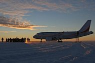 File photo of a plane on the purpose-built Wilkins glacial blue ice runway in Antarctica. Australia said Wednesday it was searching for a new aircraft landing site for planes supplying its three bases in Antarctica because the current runway is melting