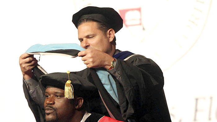 Shaquille O'Neal receives his Doctorate