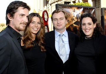 "Christian Bale , Sibi Blazic, director Christopher Nolan and producer a href=""/movie/contributor/1804751430"">Emma Thomas at the Hollywood premiere of Warner Bros. Pictures' Batman Begins"