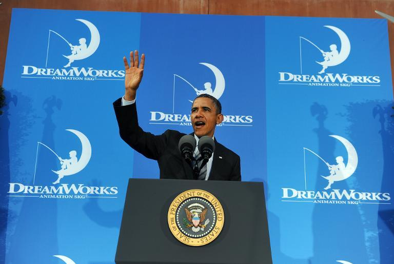 US President Barack Obama speaks on the economy at DreamWorks Animation in Glendale, California, on November 26, 2013