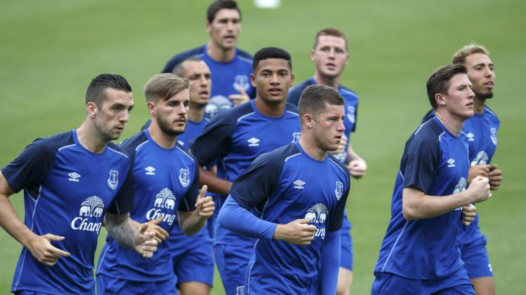 Everton's Ross Barkley jogs with his teammates during a practice session ahead of Sunday's soccer friendly against Leicester City at National Stadium in Bangkok