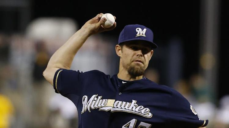 Milwaukee Brewers relief pitcher Rob Wooten (47) plays in the baseball game between the Pittsburgh Pirates and the Milwaukee Brewers on Saturday, April 19, 2014, in Pittsburgh. (AP Photo/Keith Srakocic)