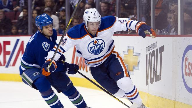 Kevin Bieksa #3 Of The Vancouver Canucks Knocks Getty Images
