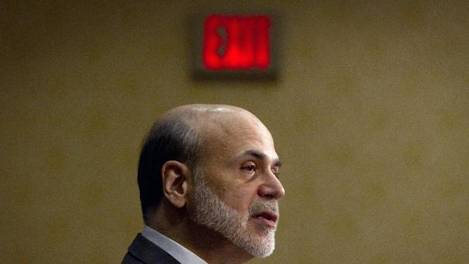 In this Monday, April 4, 2011, file photo, Federal Reserve Chairman Ben Bernanke addresses a financial markets conference meeting, in Stone Mountain, Ga. Ben Bernanke's term as chairman of the Federal Reserve expires one year from Thursday, Jan 31, 2013,  Sometime between now and then he's likely to take his foot off the gas pedal of financial stimulus that is helping to fuel the still-weak U.S. recovery and begin tapping on the brakes. (AP Photo/David Goldman)