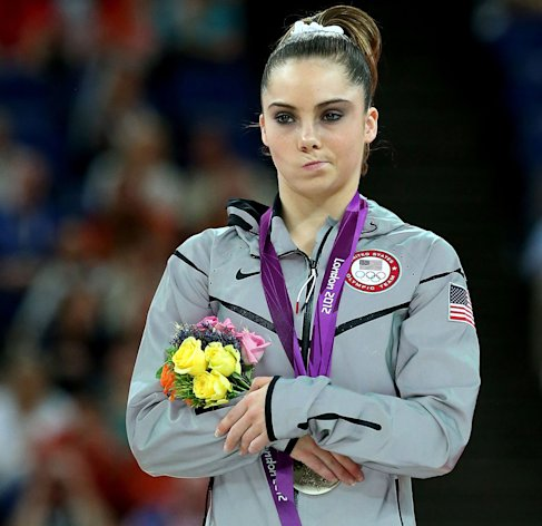 After settling for silver in the Olympics vault competition, McKayla Maroney's disappointed stance quickly became a Web meme: McKayla Maroney is not impressed. (Ronald Martinez/Getty Images)
