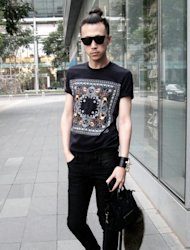 This picture taken on July 27, 2012 shows Chinese fashion blogger Han Huohuo posing in Beijing