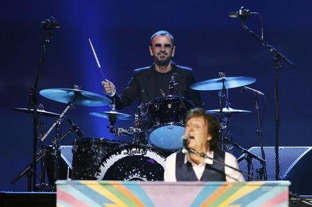 """Paul McCartney and Ringo Starr perform during the taping of """"The Night That Changed America: A GRAMMY Salute To The Beatles"""" in Los Angeles"""