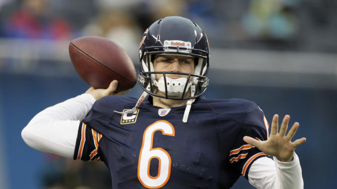 Chicago Bears quarterback Jay Cutler warms up before an NFL football game against the San Diego Chargers in Chicago, Sunday, Nov. 20, 2011. (AP Photo/Nam Y. Huh)