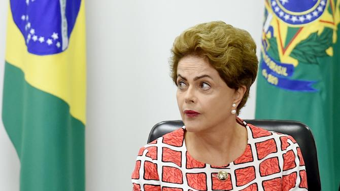 Brazilian President Dilma Rousseff attends a meeting at Planalto Palace in Brasilia