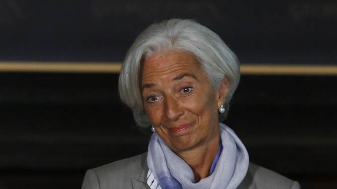 IMF Director Lagarde delivers her speech on the global economy at Georgetown University in Washington