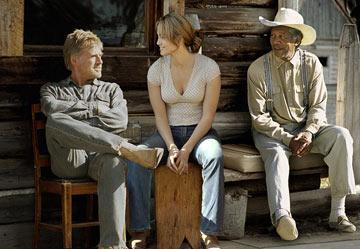 Robert Redford , Jennifer Lopez and Morgan Freeman in Miramax Films' An Unfinished Life