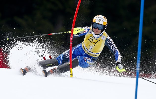 Pietilae-Holmner of Sweden  clears a gate during the women's Alpine Skiing World Cup slalom race in Ofterschwang