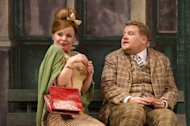In this theater image released by Boneau/Bryan-Brown, from left, Suzie Toase and James Corden are shown in a scene from &quot;One Man, Two Guvnors,&quot; performing at the Music Box Theatre in New York. (AP Photo/Boneau/Bryan-Brown, Joan Marcus)