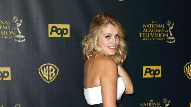 Television personality Daphne Oz poses backstage at the 42nd Annual Daytime Emmy Awards in Burbank