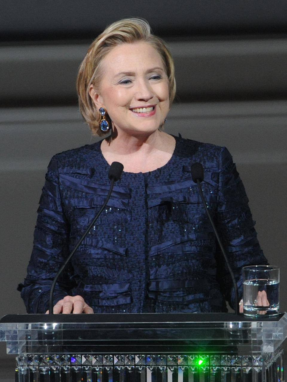 Former Secretary of State Hillary Rodham Clinton speaks on stage during the 2013 CFDA Fashion Awards at Alice Tully Hall on Monday, June 3, 2013 in New York. (Photo by Brad Barket/Invision/AP)
