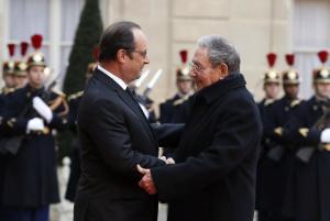 French president Francois Hollande, left, welcomes…