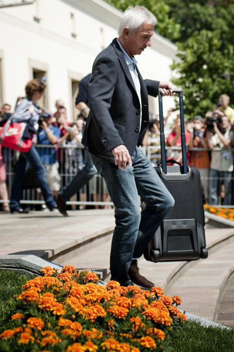 The Netherlands' National Football Team Coach Bert Van Marvijk Leaves The Sheraton Hotel In Krakow On June 18, 2012. AFP/Getty Images