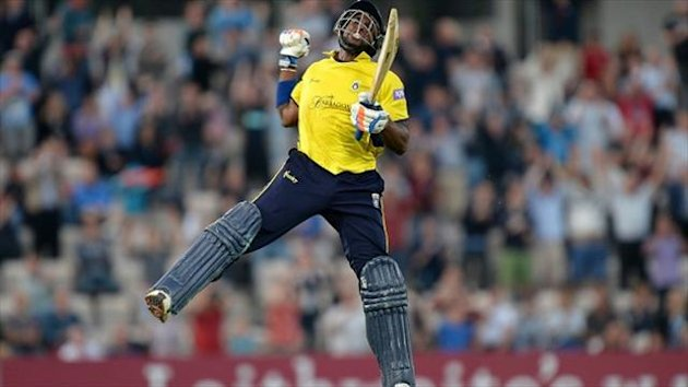 Hampshire's Michael Carberry plundered 100 from 66 balls