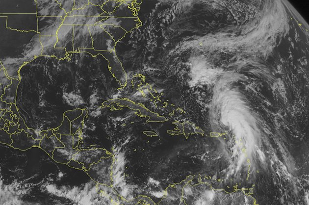 This NOAA satellite image taken Sunday, October 14, 2012 at 10:45 AM EDT shows Tropical Storm Rafael north of the Lesser Antilles.