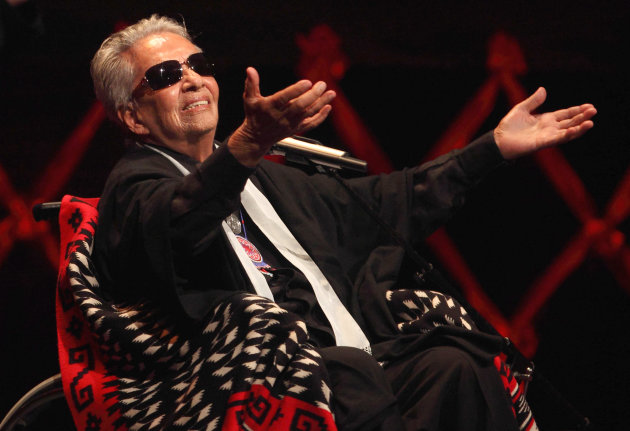 FILE - In this April 21, 2009 file photo, singer Chavela Vargas acknowledges the audience during a ceremony in her honor in Mexico City. Vargas, 93, died on Sunday, Aug. 5, 2012, after being hospitalized recently due to cardiac and renal problems. (AP Photo/Alexandre Meneghini, File)