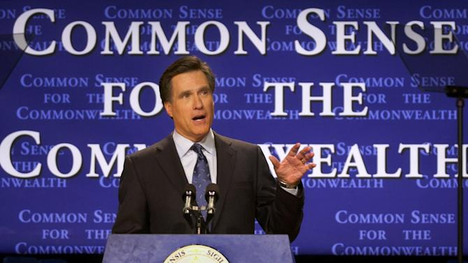 FILE - In this Feb. 25, 2003, file photo, then-Massachusetts Gov. Mitt Romney delivers his State of the State address in Boston. What worked in the corporate boardroom for Mitt Romney didn't fly in the more raucous corridors of the Massachusetts Legislature. The Republican took over as governor in 2003 after a long, successful career as CEO at private equity firm Bain Capital, where it was pretty much Romney's way or the highway.  (AP Photo/Elise Amendola, File)
