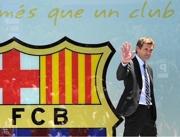 Newly-appointed Barcelona's Football Coach Tito Vilanova Waves AFP/Getty Images