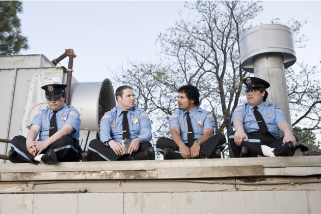 John Yuan Matthew Yuan Michael Pena Seth Rogen Observe and Report Production Stills Warner Bros. 2009