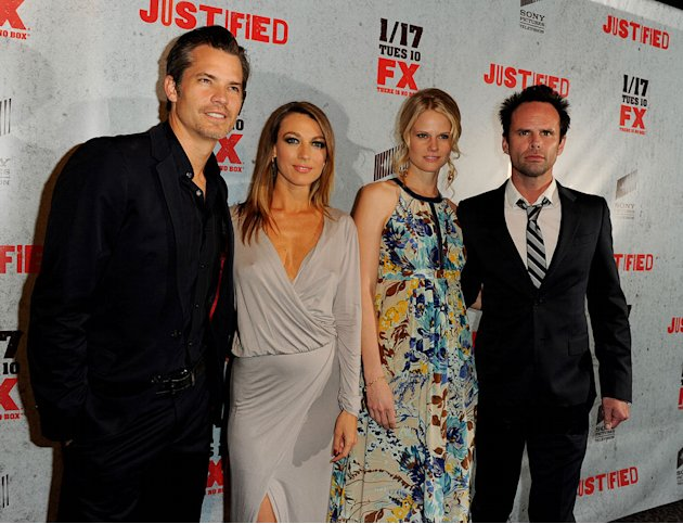 "Timothy Olyphant, Natalie Zea, Joelle Carter, and Walton Goggins attend the Season 3 premiere of FX's ""Justified"" at the Directors Guild on January 10, 2012 in Los Angeles, California."