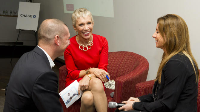 "IMAGE DISTRIBUTED FOR CHASE - Entrepreneur, Barbara Corcoran meets with fellow judges to evaluate the small business pitches at ""Business on Edge,"" Thursday, October 4. (Photo by Charles Sykes/Invision for Chase/AP Images)"