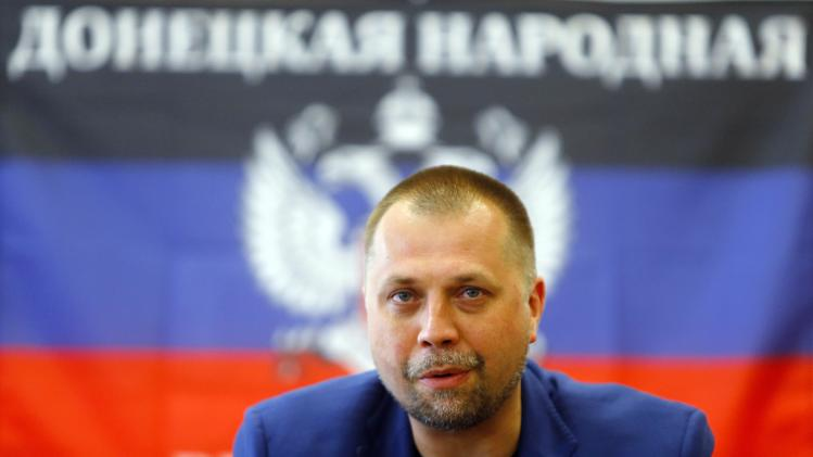 File photo of Borodai, premier of the self proclaimed Donetsk People's Republic, attending a news conference in Donetsk