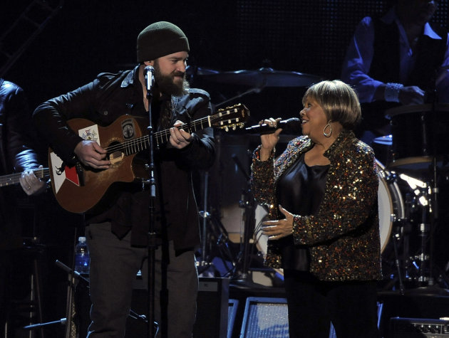 "Zac Brown, left, and Mavis Staples perform ""My City of Ruins"" on stage at the MusiCares Person of the Year tribute honoring Bruce Springsteen at the Los Angeles Convention Center on Friday Feb. 8, 201"