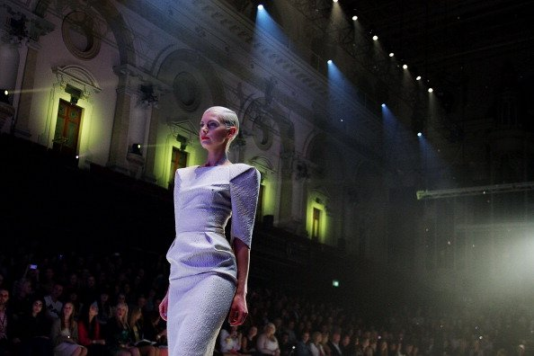 Kate Peck showcases designs by Maticevski on the catwalk as part of Mercedes Benz Fashion Festival Sydney 2012 at Sydney Town Hall on August 25, 2012 in Sydney, Australia. (Photo by Lisa Maree William