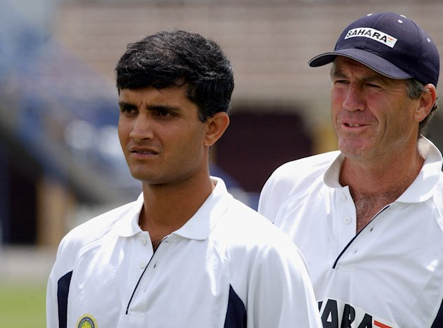 India's captain Sourav Ganguly, left and coach Joh
