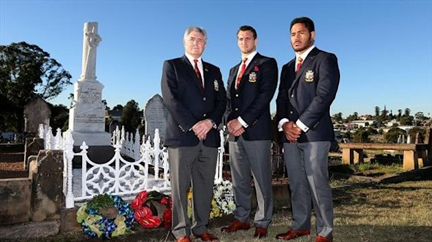 Andy Irvine, left, Sam Warburton, centre, and Manu Tuilagi visited Robert Seddon's grave at Campbells Cemetery