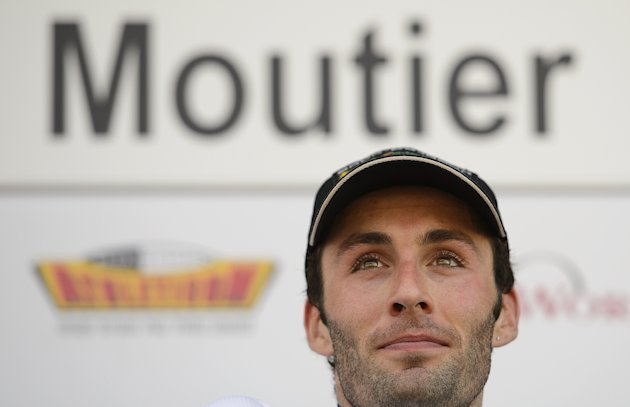 French cyclist Jonathan Hivert looks on after winning the second stage of the Tour de Romandie cycling race, a 149,1 km stage from Montbeliard to Moutier, during the podium ceremony on April 26, 2012 