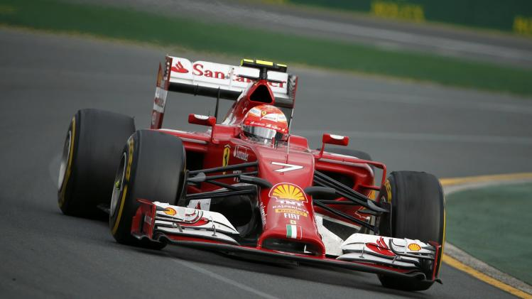 Ferrari Formula One driver Raikkonen of Finland takes a corner during the Australian F1 Grand Prix in Melbourne