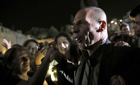 Greek Finance Minister Varoufakis attends an anti-austerity rally in Syntagma Square in Athens