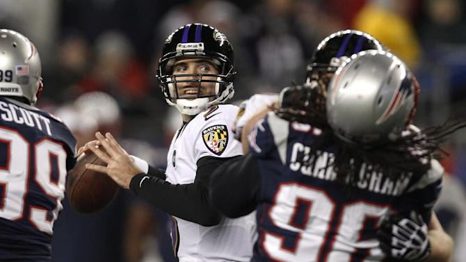 Baltimore Ravens quarterback Joe Flacco (5) passes during the second half of the NFL football AFC Championship football game against the New England Patriots in Foxborough, Mass., Sunday, Jan. 20, 2013. (AP Photo/Stephan Savoia)
