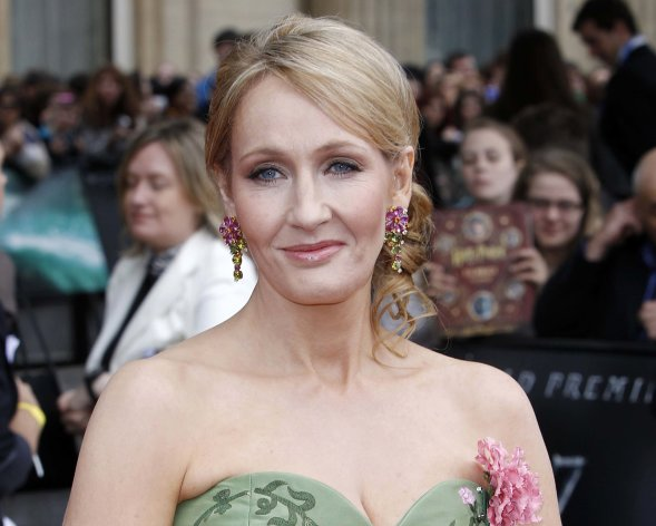 "FILE - In this July 7, 2011 file photo, British author JK Rowling arrives in Trafalgar Square, in central London, for the World Premiere of ""Harry Potter and The Deathly Hallows: Part 2,"" the last film in the series. This fall, British writer J.K. Rowling plans to make her one and only in-person appearance in the U.S. to promote her first novel for adults. The ""Harry Potter"" author will discuss ""The Casual Vacancy"" at New York's Jazz at Lincoln Center on Oct. 16. The venue can seat about 1,100 people. Little, Brown and Company announced Wednesday, Aug. 23, 2012, that Rowling will be interviewed on stage by fellow author Ann Patchett and will take ""select"" audience questions. (AP Photo/Joel Ryan, file)"