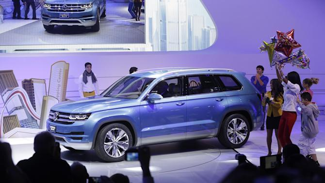 The Volkswagen CrossBlue SUV is unveiled during the North American International Auto Show in Detroit, Monday, Jan. 14, 2013. (AP Photo/Carlos Osorio)
