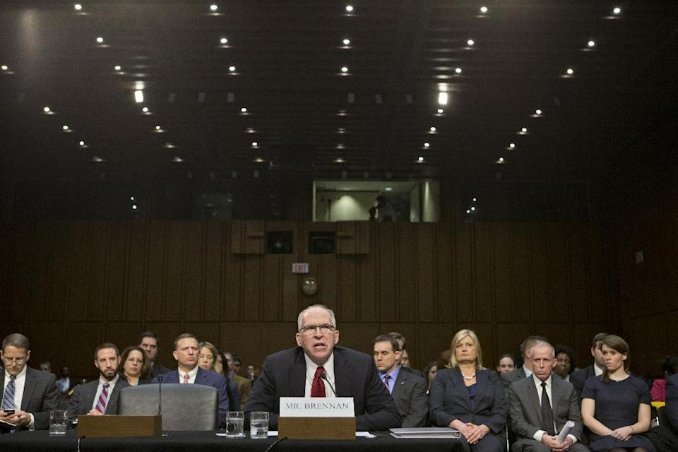 CIA Director nominee John Brennan testifies on Capitol Hill in Washington, Thursday, Feb. 7, 2013, during his confirmation hearing before the Senate Intelligence Committee'.  (AP Photo/J. Scott Applewhite)