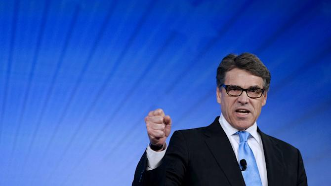 Rick Perry, former Texas governor and likely Republican presidential candidate, speaks at the Southern Republican Leadership Conference in Oklahoma City