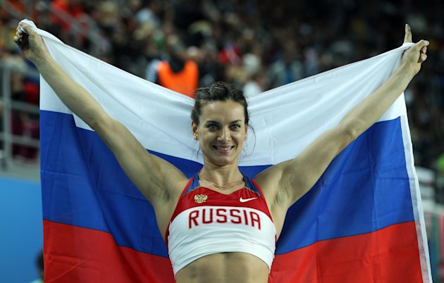 ISTANBUL, TURKEY - MARCH 11:  Elena Isinbaeva of Russia celebrates as she wins gold in the Women's Pole Vault Final during day three of the 14th IAAF World Indoor Championships at the Atakoy Athletics Arena on March 11, 2012 in Istanbul, Turkey.  (Photo by Ian Walton/Getty Images)